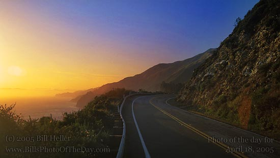 Sunset on Pacific Coast Highway near Big Sur
