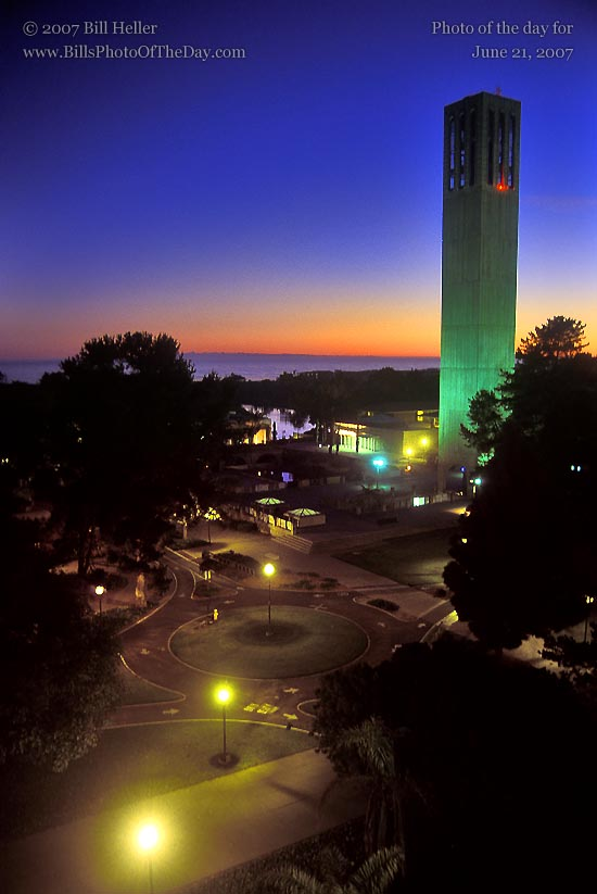 Storke Tower, University of California, Santa Barbara at sunset