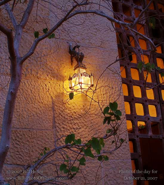 Lamp beside an entrace to the Santa Barbara Courthouse
