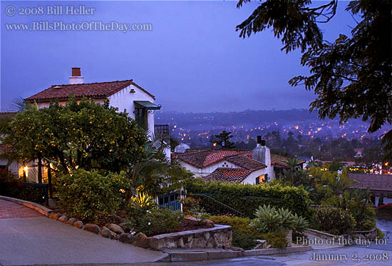 Looking out from the Santa Barbara Hills just after sunset