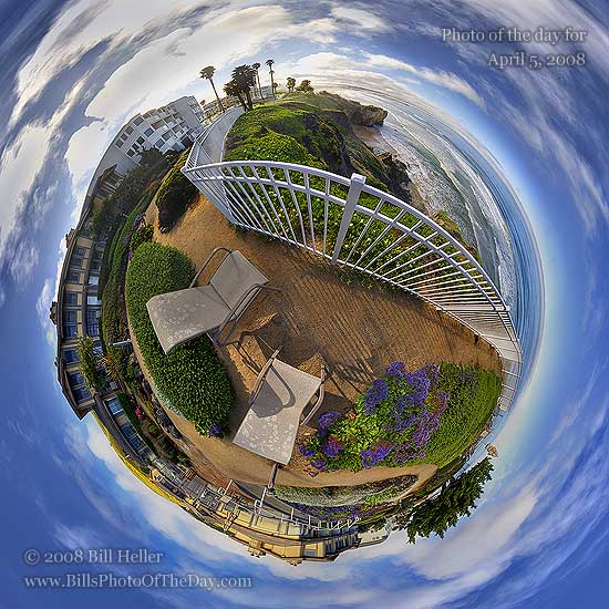 Spherical projection of the Cottage Inn, Pismo Beach, CA