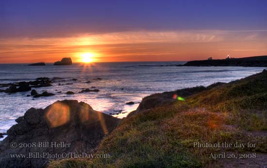 Sunset over the beach by Piedras Blancas Lighthouse in San Simeon