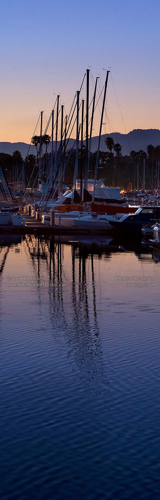 Sailboats in the sunset light at the Santa Barbara Harbor