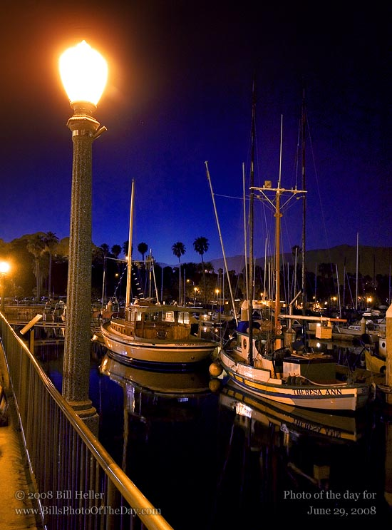 Santa Barbara Harbor with the last glow of the sunset over the mountains