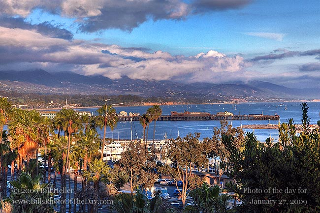 View of Stearns Wharf from the hills above the harbor