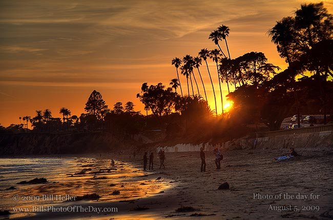 Sunset at Butterfly Beach, Montecito, California