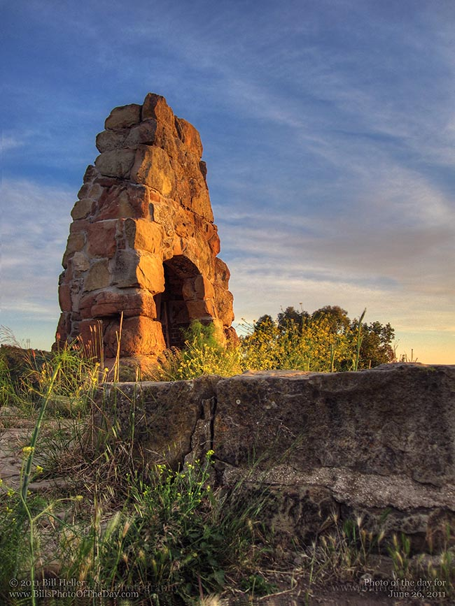 Knapp's Castle chimney archway ruins at sunset