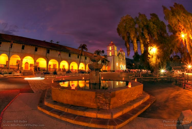 Christmas caroling and blessing of the Creche at the Mission Santa Barbara