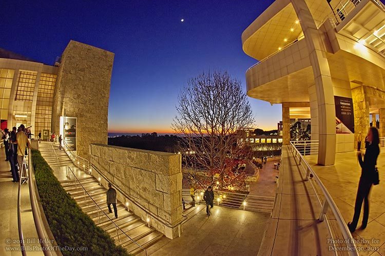 Sunset at The Getty Center in Los Angeles, California
